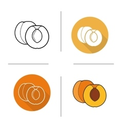 Apricot flat design linear and color icons set vector