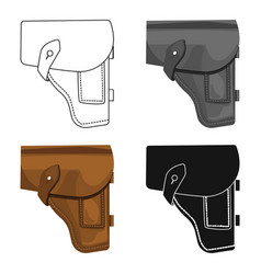 Army handgun holster icon in cartoon style vector