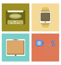 assembly flat icon tablet gadget Digital Watch vector image