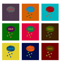 Assembly of flat shading style icon sale gift rain vector