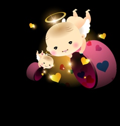 Baby angel with hearts vector image