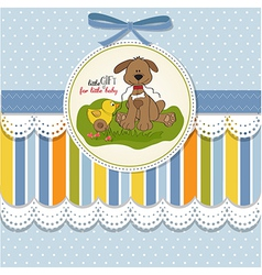 baby shower card with dog and duck toy vector image