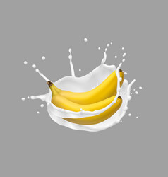 Banana and milk splash 3d icon vector