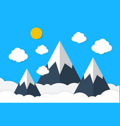 blue mountains and sky clouds background vector image