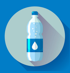 bottle water icon in flat style on blue vector image