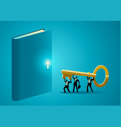 Business people trying to open a book vector