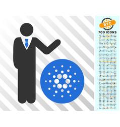businessman show cardano flat icon with bonus vector image