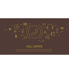 Call center flat thin design vector