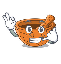 Call me wooden kitchen mortar isolated on mascot vector