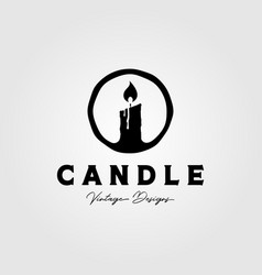 Candle logo vintage symbol design candlelight vector
