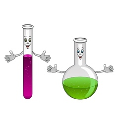 Cartoon laboratory test tube and flask characters vector