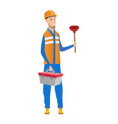 caucasian plumber holding plunger and tool box vector image