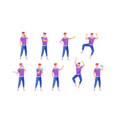 cheerful young man in jeans poses set vector image