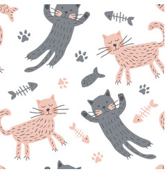 childish seamless pattern with cute cats creative vector image