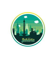 City of jakarta label badge sticker logo template vector