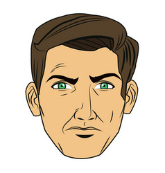 comic face man expression pop art style vector image