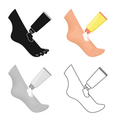 cream for feet icon in cartoon style isolated on vector image