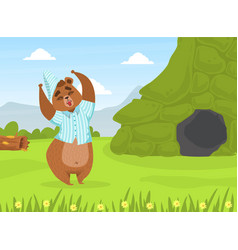 cute bron bear in pajamas and cap standing in vector image
