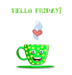 cute cartoon green smiling cup and text hello vector image