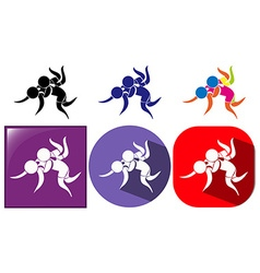 Different design icon for wrestling vector image