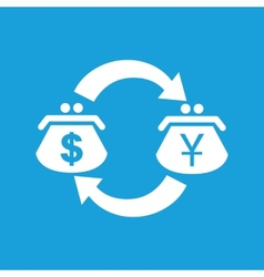 Dollar yen exchange white icon vector