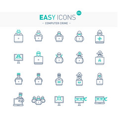 easy icons 44e computer crime vector image