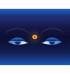 Eyes on deep blue background Buddhistic banner vector