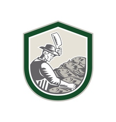 Fishmonger Chop Fish Shield Retro vector image