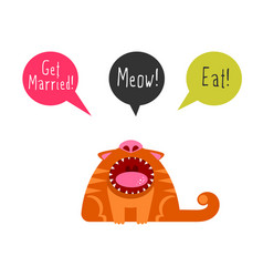 flat cat with speech bubbles vector image