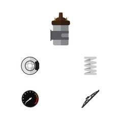 flat icon auto set of windshield crankshaft vector image