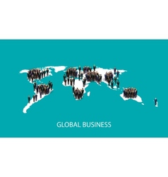 flat of business people standing on the world vector image vector image
