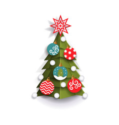 Flat paper cut christmas tree decoration element vector