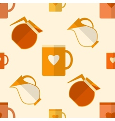 Flat seamless pattern with coffee items vector image