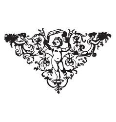 Floral motif with cherub have a little angle in vector