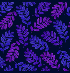 Floral seamless pattern with purple leaves on dark vector