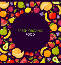 fruits frame colorful vitamin healthy set with vector image