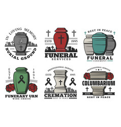 funeral service funerary urn columbarium vector image