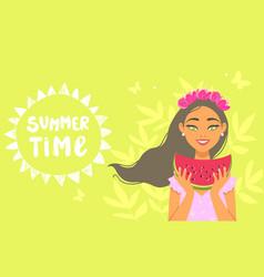 girl summertime vector image