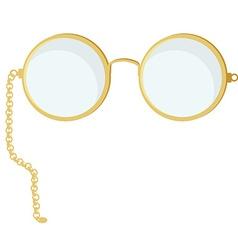 Golden round glasses vector image