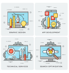 Graphic design mobile app development technical vector