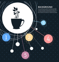Green tea icon with the background to the point vector