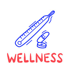 Hand draw doodle wellness medical thermometer vector
