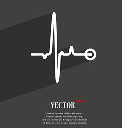 Heartbeat symbol Flat modern web design with long vector image