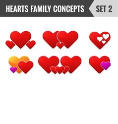 Hearts family concepts Set 2 vector image