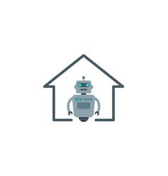 home robot logo icon design vector image