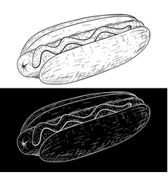 hot dog outline sketch vector image