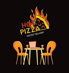 hot pizza fastest delivery pizzeria cuisine logo vector image