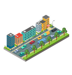 isometric element of city road with buildings and vector image
