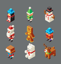 Isometric lowpoly christmas characters winter new vector