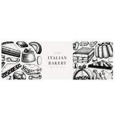 italian desserts pastries cookies banner vector image